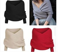 Wholesale HOT Women Crop Top Batwing Sleeve Knitted Cardigan Female Fashion Long Sleeve Off the Shoulder Knitted Sweater color free