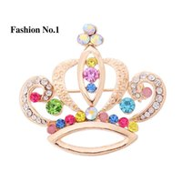 austrian clothes - women girls clothes Jewelry accessory Imperial crown shape Austrian Crystal k Gold Plated Brooch Pins