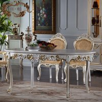 Solid Wood dining table - Luxury french furniture Crack paint classic wood furniture classic dining room furniture sets hand carving leaf gilding table