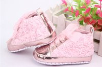 Wholesale Baby kids Toddler sapato infant Rose flower soft sole girl shoes Baby First walker Shoes colors