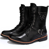 Cheap Cool Mens Quality Leather Motorcycle Ankle Boots Rivet Studded Punk Rocky Shoes Western Men Boots Buckle Straps Lace Up Zip Hand Sewing 2016