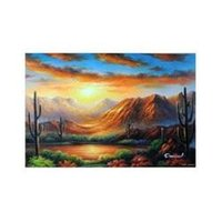 arizona painting - Desert Sunset Water Oasis Lake Cactus Arizona X36 Frameless draw Oil Painting z