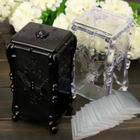 bamboo jewelry box - Clear Black Acrylic x7x6cm Makeup Cotton Pad Cosmetic Organizer Jewelry Case Storage Box Holder