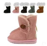 Wholesale Button Children s shoes snow boots Genuine Leather High quality