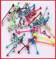 Wholesale T01 mix style mix color body piercing jewelry stainless steel fashion tongue industrial barbell