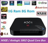 Wholesale MXIII Android TV Box Amlogic S802 Quad Core MX3 Smart IPTV Android K G G XBMC Kodi Media Player