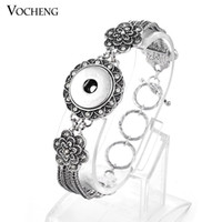 Wholesale Vocheng NOOSA Flower Shape Crystal Bracelet mm Snap Button Bracelet Popper Bracelet Silver Plated Bangle NN