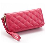 best selling purses - Best Selling Women Fashion Plaid Pattern Genuine Leather Wallet Sweet Candy Color Wristlet Bags Organizer Wallets Purses