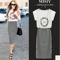 Wholesale 2016 summer new women s round neck short sleeved dress European fashion stripes cotton dress Slim Straight Skirt