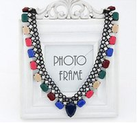 bib necklaces trend - 2016 Fashion Trend Luxury Statement Necklace For Women New All Match Candy Color Pattern Resin Bib Necklaces