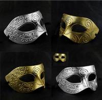 Wholesale Delicate Retro Roman Gladiator masquerade masks for men Vintage Gold Silver Mask Carnival Mask Mens Halloween Costume Party mardi gras Mask
