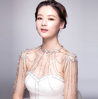 Wholesale 2015 New Fashion Wedding Bridal Prom Women Silver Crystal Rhinestone Flowers Shoulder Body Chain Tassel Pendant Necklace Jewelry Set Gift