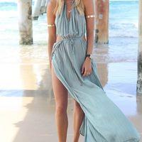 Wholesale New Fashion Women Beach Dress Sexy Summer Chiffon Long Dresses Cardigan Beach Bikini Cover up Holiday Beachwear XA0055
