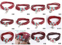 beaded jewelry - Beaded charm bracelet rope fashion women girl garnet turquoise silver pendants layers bracelets wristband friendship gift jewelry red