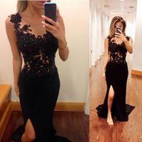 Wholesale Amazing Long Black Lace Corset Mermaid Prom Dresses Party Evening Gown Formal Chiffon Applique Split Backless Chapel Train Maxi Dress