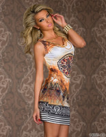 leopard print mini dress - New Plus Size beach dress for summer print vintage party mini leopard women sexy club dress