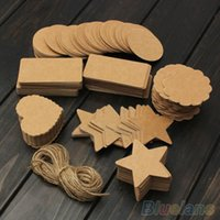 Wholesale Vintage Blank Brown Kraft Paper Hang Tags Wedding Favor Label Gift Cards T5D