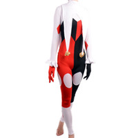 Wholesale Harley Quinn Costume women adult sexy tight jumpsuits spandex full bodysuit Catsuit joker Clown cosplay halloween costumes