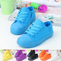 autumn brand athletic shoes - 2015 New Spring Fashion Casual Lace Up Candy Color Canvas Shoes Brand Children Sneakers Kids Colors Girls Boys Athletic Shoes