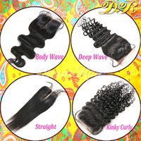 Wholesale Unprocessed Brazilian Virgin Human Hair Weaves Body Wave Deep Curly Straight Lace Top Closure Bleached Remy Hair Dyeable