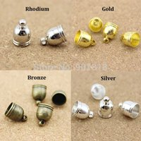 Cheap 50pcs lot Hole 6 7 8 9mm Copper DIY Findings Leather Cord Tassel End Caps For Jewelry Making Connectors F1313
