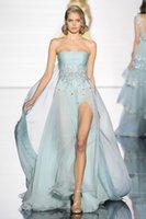 achat en gros de zuhair murad robe de paillettes bleu-2015 Zuhair Murad volants sans bretelles Sparkly Perles Sequins Light Blue Robes de soirée en mousseline de soie High Slit Summer