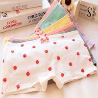 Wholesale Strawberry Boxers - Wholesale-Meng Da strawberry cute girl safe underwear bow girl Cotton Boxer underwear panties thong briefs bragas