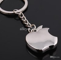 apple logo text - Novelty Souvenir Metal Apple Key Chain Custom text logo Creative Gifts Keychain Key Ring Trinket Tz82