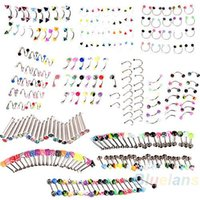 Wholesale Stainless Steel Acrylic X Ball Cone Dice Rhinestone Eyebrow Lip Tongue Nose Navel Belly Button Studs Rings