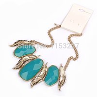 stone veneer - Koren style colorful stone imitation leaf gold bib necklace veneer