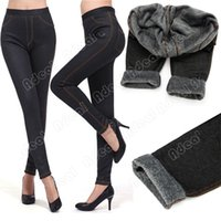Wholesale Women s Winter Thicken Legging Fashion Warm Denim Pants Footless Leggings With Pockets SV009651