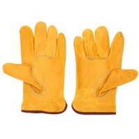 Wholesale Size L Quality Leather Safety Gloves Working Protection Safety Welding Gloves For Machine Yellow