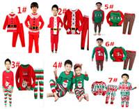 Санта костюмы Цены-Рождественские Мальчики Одежда Рождество Санта футболка + брюки 2шт Подходит Мальчики Девочки Весна Осень Дети пижамы набор, комплект одежды