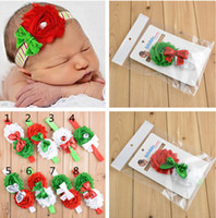Wholesale New Hairband Christmas Gifts Girls Lace Bow Hairbands Kids Santa Bowknot Present Sequins Elsatic Headbands kid Xmas Hair Accessories