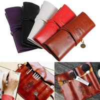 Wholesale Fashion Retro Roll Makeup Pencil Pen Brush Case Purse Pouch Cosmetic Bag Leather