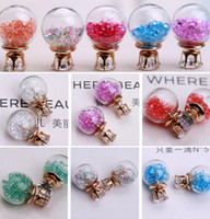 ball earrings crystal glass - 2015 New Fashion Transparent Hollow Glass Ball Earrings Double Side crystal earrings Glass Bottle Crown Stud Earrings