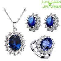 Wholesale Queen Royal ocean blue K white gold austrian crystal rhinestones zircon pendant chain necklace earrings ring Jewelry sets