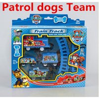 electric train toy - 2016 New Kids Brinquedo Puppy Patrol Cartoon Dog Patrulla Canina Original Stairs Electric Train Track Patroller Doll Toys Free DHL