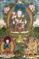 Wholesale Buddhism gold brocade thangka painting Diamond Dual body repair Buddha Fa Tangka