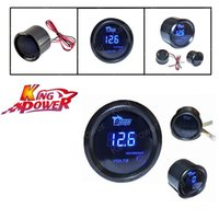 Wholesale KP NEW Black Universal quot mm Blue Digital LED Electronic Volt Gauge Meter For Car
