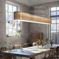 american veneer - European simple veneer Chandelier Vintage American rural wooden luminaria de led for dining room
