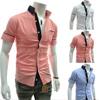 Wholesale 2015 New Men s High Quality High Grade Popular Fashion Business Short Sleeve Dress Shirts Comfortable Cotton Slim Fit Hot Selling