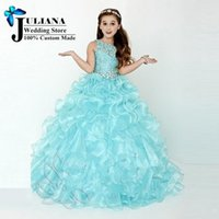 Wholesale Pageant Dresses for Little Girls Ball Gown Mint Green Cascading Kids Evening Gowns Flower Girls Dresses for Party and Weddings