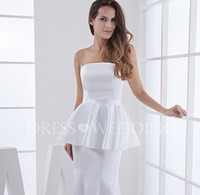 Cheap 2015 New Fashion Free Shipping Mermaid Strapless Floor-Length White Satin Peplum Evening Dress a3732