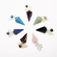 healing crystals - 7pcs Assorted Crystal pendulum Pendants Beads end chakra healing reiki free pouch