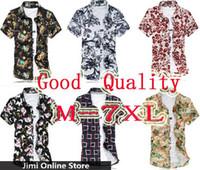 Cheap Wholesale-Men shirt 2015 summer floral print men shirt mens shirts PLUS SIZE casual silk cotton tops men camisa masculina shirt M- 7xl