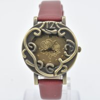 antique copper printing plates - 2015 Vine Copper Plated Flower Printed Wrist Watch PU Leather Quartz Women Watches Relogio Masculino