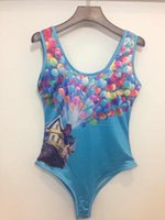 beach house swimwear - New Summer Women balloon house printing D One Piece Swimsuit Swimwear Bathing Suit beach suits
