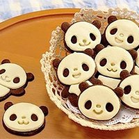 Wholesale Hot Sale Set Cute Panda Cake Cookie Bakeware Mould Fondant Cookie Cutters Biscuit Mold Kitchen DIY Tools Double Color
