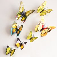 Wholesale 12pieces PVC Yellow Butterfly D Wall Sticker For Kids Room Living Room Ornament ZYQ1